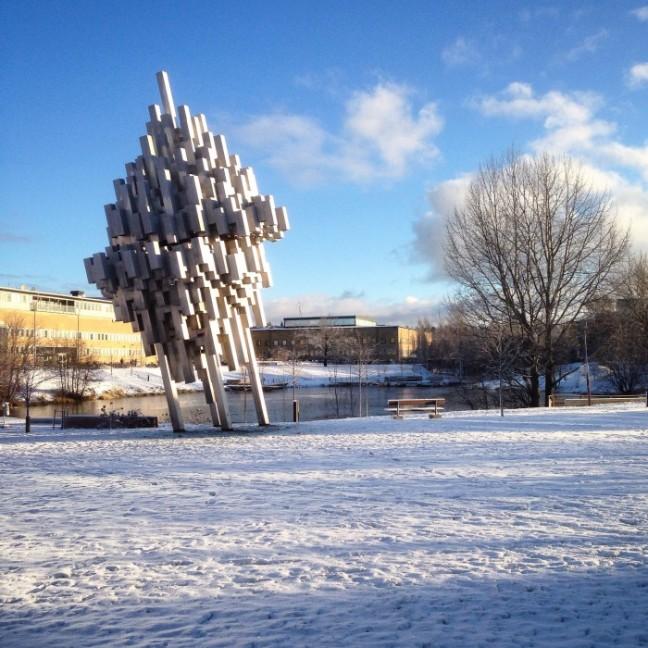Umeå universitet campus snö