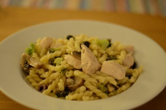 pasta med kyckling och vitt vin
