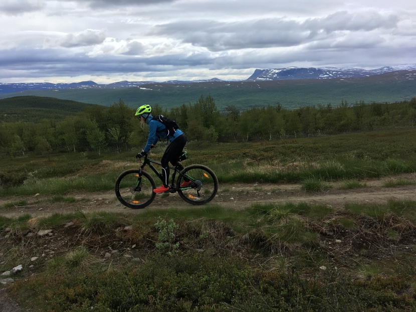 Mountainbike och midnattssol